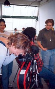 On the set of my first short film, Dike, in 1995.